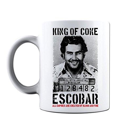 Novedad impreso tazas King de coque Pablo Escobar Taza de café taza regalo, Blanco