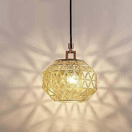 Nordic Glas Kronleuchter einzigen Kopf Restaurant kreative einfache Esszimmer Stehtisch Schlafzimmer Nachttischlampe industrielle Wind Designer-Lampe@Goldbronze + trockener Ocker -