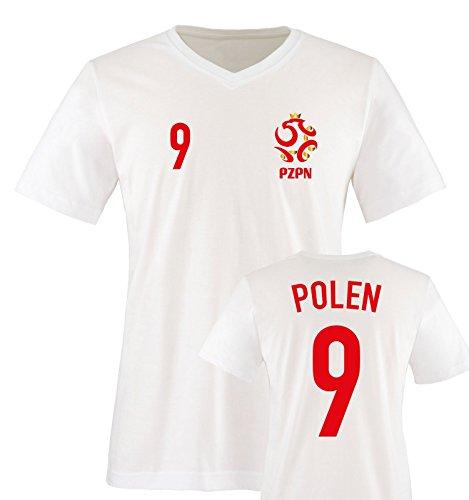 EM 2016 - Trikot - EM 2016 - Polen - 9 - Herren V-Neck T-Shirt - Weiss/Rot-Gold Gr. L