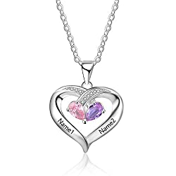 Personalisierte Sterling Silber Halsketten mit Herzanhänger 2 Simulierte Birthstone Halskette Echt Silber Gravur für Frauen halskette weihnachten
