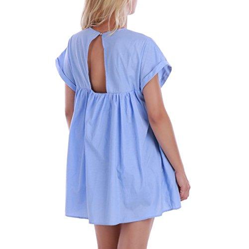 La Modeuse - Robe combinaison manches courtes effet trompe-l'oeil Illusion d'une robe courte Bleu