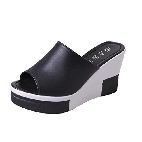 Beautyjourney sandali donna con zeppa estive elegant scarpe donna estive eleganti scarpe donna tacco medio sandali gioiello -donna estate sandali scarpe romane infradito (37, nero)
