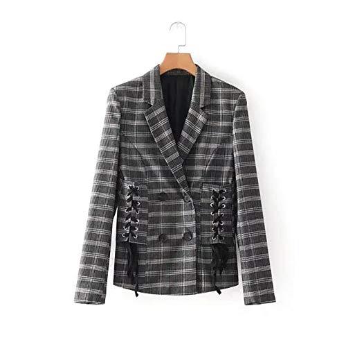 WJMM Damen Blazer Mit FrauenPlaid Blazer Lace Up Slim Büro Check Blazer Und Jacken Weibliche Arbeit Outfit, S -