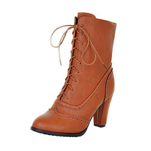 Riou Damen Klassische Spitzleder Schnürstiefel mit Hohem Absatz Middle Röhre Elegant Freizeit Ankle Schuhe Boots (36 EU, Gelb)