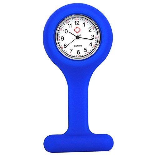 Krankenschwestern Station (TRIXES Taschenuhr Uhr für Krankenschwestern Silikon mit Anstecknadel Blau)