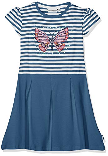 chen Dress Friend Stripe Kleid, Blau (Jeans Blue Melange 487), 116 ()