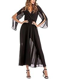 16c9d2609a311 Vestido Mujer Elegantes Vestidos Largos De Verano Vestido De Gasa 3 4 Manga  V Cuello Vestidos Años 50 Swing Moda Color Solido Vestido…