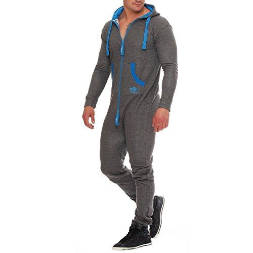 (94X3 Finchman Herren Jumpsuit Funky Jogging Anzug Overall Darkgrey/ Blau Gr.XXL)