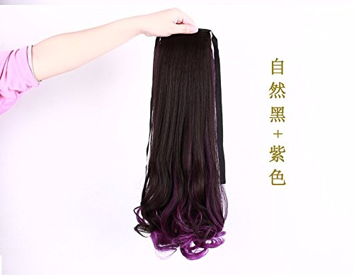 xnwp-gradiente-de-color-resalte-ladys-larga-peluca-ponytail-rizado-corto-largo-correa-fake-ponytailn