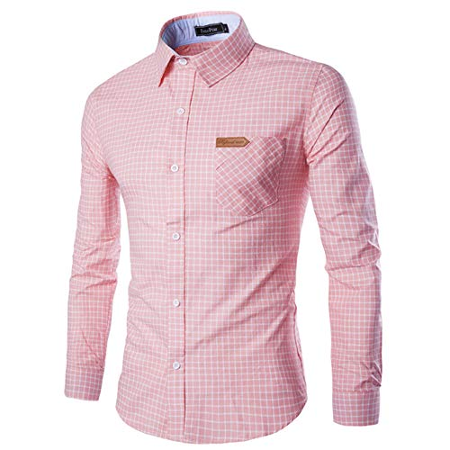 MEIbax Herbst Herren Casual Plaid Print Langarm Button Slim T-Shirt Top Bluse Hemd Oberteile