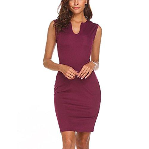 feiXIANG Sommer Frauen Kleider ärmellose Bodycon Ladies Evening Party Dress ärmelloses Kleid Rundhalsausschnitt Elegante Abendmode Mini-Kleid für Damen (M, Z/Wein)