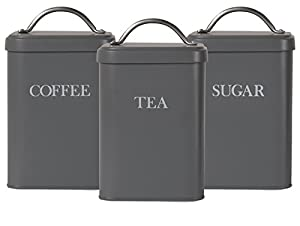 Garden Trading Tea Coffee & Sugar Canisters in Charcoal