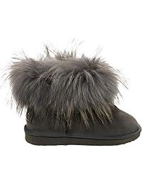 2c234d23d0dfdc OOG Boots echtes Fell   Leder Schuh Damen Fellstiefel Bommel Winterstiefel  Pelz