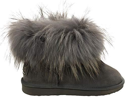 OOG Boots echtes Fell & Leder Schuh Damen Fellstiefel Bommel Winterstiefel Pelz (38 EU, Grau)