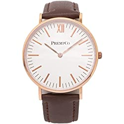 Prempco - Nobel - Ladies Watch - Ivory White - Rose Gold - Quick Change Watch Wrist Band, Brown