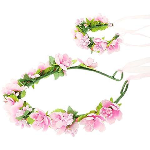 HanLuckyStars Romantica Diadema Corona Flores para Cabello Garland Halo Accesorios para el cabello Elegante Decoradas con Flores de la Venda de Muñeca para Festivales de boda Novia