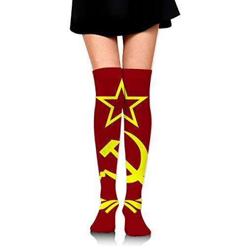 Kostüm Hammer Sichel Und - Bidetu Faultier Stücke Hammer und Sichel über Knie lange Socke Oberschenkel hohe Socken Mädchen Socken süße Kostüm Strümpfe 25,5 Zoll