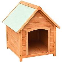 Festnight Casas de Perros para Jardín Madera Maciza de Pino y Abeto 72x85x82 cm Marrón y