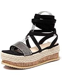 HRN Zapatos de Mujer PU Artificial cuñas de tacón Alto Solo Zapatos Correa  Moda Sandalias Estilo 25f05e70f20f
