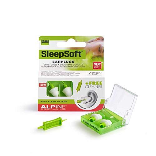 Alpine SleepSoft mit Minigrip 2018 – für einfaches Entfernen – Ohrstöpsel zum Schlafen & Dämpft Schnarch-Geräusche, Gratis Cleaner