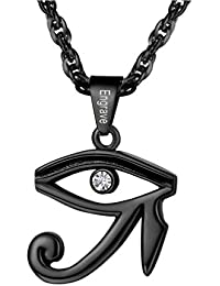 f46c36bf904f PROSTEEL Collar de Cruz Anj Egipto y Ojo Turco Ojo de Horus Acero  Inoxidable Chapado en Oro Negro con Cadena Eslabones 60cm…