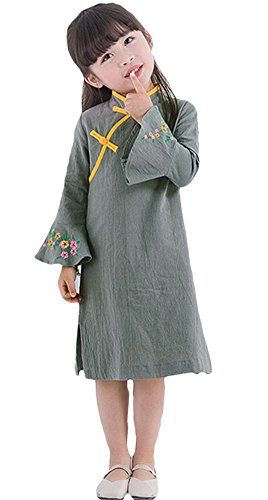 ezShe Girl's Mandarin Collar Flower Embroidery Trumpet Sleeve Cheongsam Dress