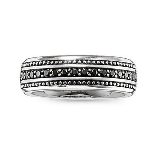 Thomas Sabo Rebel at heart ltext-anello da donna 925 argento con zirconi neri misura 62 (19,7) - TR2004-051-11-62