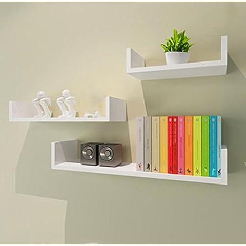 TBQING Semplice a forma di U pacco scaffale libreria mensola parete scaffalature camera da letto soggiorno decorativo telaio verniciato assicella Creative . b