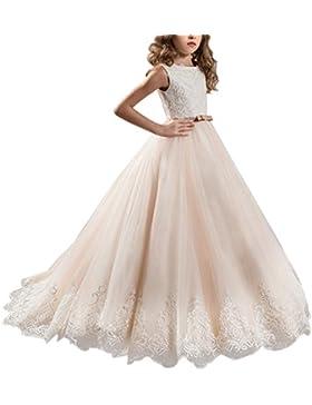 Appliques de encaje vestido de niña de flores para la boda Princesa Vestidos de Dama De Honor Fiesta Tul Bowknot...