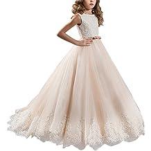 IBTOM CASTLE Vestido de niña de Flores para la Boda Niños Largo Gala Encaje De Ceremonia