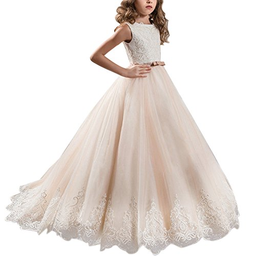 Festliches Mädchen Kleid Pinzessin Kostüm Lange Brautjungfern Kleider Hochzeit Party Festzug #13 Champagner 2-3 Jahre (Kinder Kostüme)