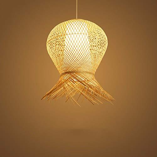 Zhang Yan ZYY * Pendelleuchte Kronleuchter Vintage Shabby Kreative Bambus Weben Restaurant Chinesischen Garten Geflochtene Lampen, 50 * 60 cm 9 Watt Weißes Licht -