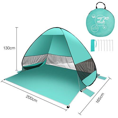 FITFIRST Strandzelt, Pop-up,Leicht Automatik Strandmuschel mit Boden Sonnenschutz UV-Schutz, für Familien Aktivität, Outdoor, Strand【Grün】