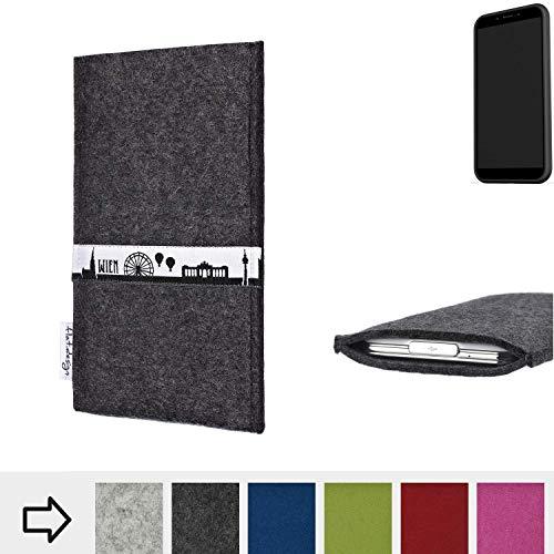 flat.design für Shift Shift6mq Schutztasche Handy Hülle Skyline mit Webband Wien - Maßanfertigung der Schutzhülle Handy Tasche aus 100% Wollfilz (anthrazit) für Shift Shift6mq