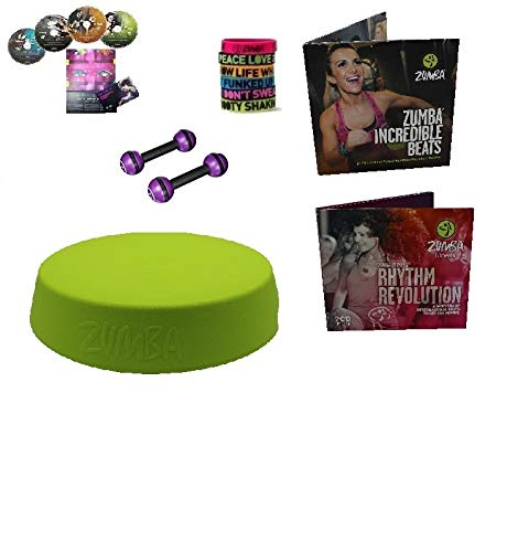 Mega XXL Zumba Stepper/Rizer Set 4er DVD + Armbänder, Toning 2.5 LB + Ernährungsplan + 2x2 CDs