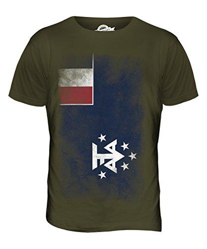 CandyMix Französische Süd- Und Antarktisgebiete Verblichen Flagge Herren T Shirt Khaki Grün