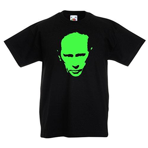 Kinder Ww2 Uniformen (Kinder T-Shirt Wie Vladimir Putin Russland Moskau, politisches Design (14-15 years Schwarz)