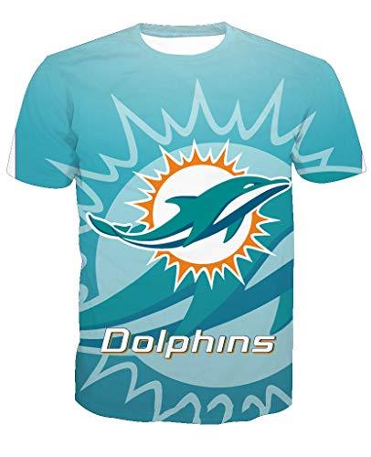 Herren Oansatz Kurzarm 3D Print Miami Dolphin Football Team Sommer T-Shirts(XL,Blue)