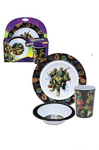 Teenage Mutant Ninja Turtles Kinderservice mit Teller, Müslischüssel und Trinkbecher aus Melamin (Mutant Farben Teenage Turtle Ninja)