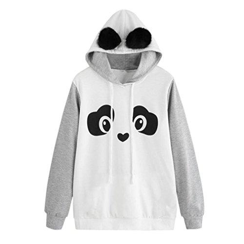BA Zha Fashion Women's Cartoon Panda Print Hoodie Casual Autumn Tunic Loose Sweater Round Neck Shirt Coat Hooded Pullover Sweatshirt Long Sleeve Tops Sexy Blouse Jumper T-Shirt