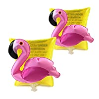 2 PCS Inflatable Arm Bands for Kids Cute Flamingo Sleeves Float Bands Portable Water Wings Swimming Aid Accessories Swimming Supplies