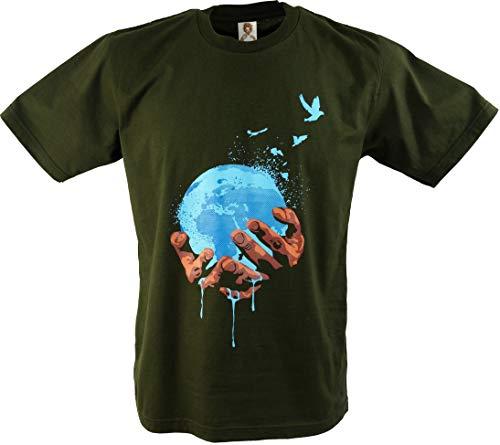 Guru-Shop Fun T-Shirt `Unsere Erde`, Herren, Grün, Baumwolle, Size:M, Rundhals Kurzarm Shirt Alternative Bekleidung - Grüne Erde Textilien