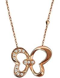 7efb15034c75 MKHDD Elegante Mariposa Nudo Corazón Collar Sólido 18 K Oro Rosa Real  Natural Diamante Colgante Joyería