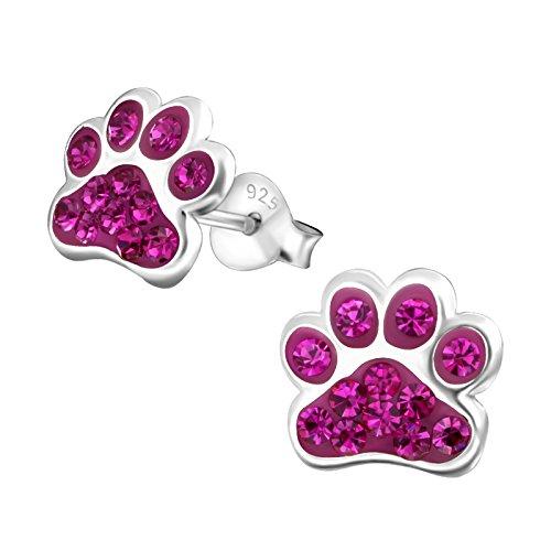 Laimons Kids Orecchini a pressione gioielli per bambini Zampa di cane Rosa Con brillantini Argento Sterling 925