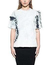 Msgm Femme 2241MDM130L17428589 Blanc/Bleu Coton T-Shirt