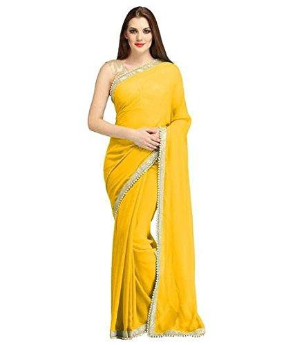 Elexsis Fashion Women's Chiffon Silk Saree With Blouse Piece (El China Yellow)