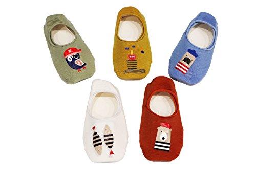 Z-chen 5 paia di calzini antiscivolo invisibili bambini e ragazzi, set 5, 3-5 anni