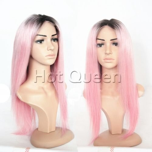 HotQueen Perücken 100% Brazilian Virgin Human Hair Ombre Pink Straight Lace Front Wig Full Lace Wigs