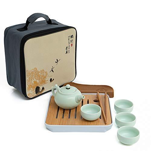 SOGREAT Reise Kungfu Tee Set Tragbar Chinesische/Japanische Retro Porzellan Teekanne und 4 Tassen Bambus Teetablett + Aufbewahrungstasche + Putztuch + Tee-Clip für Zuhause Büro Geschäft Teeservice