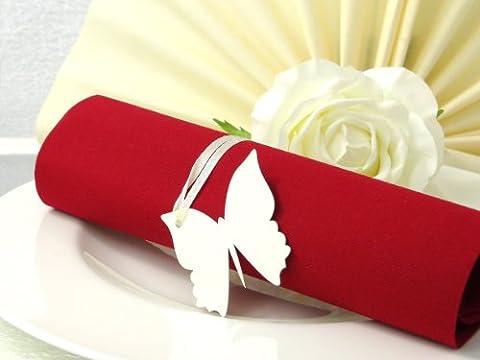 10x Tischkarten Hochzeit Serviettenring creme - Tischkarten, Platzkarten, Namenskarten, Platzkartenhalter